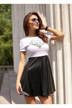 Стилна дамска рокля с камъни CHERIL