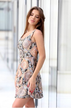 Разкроена дамска рокля с дизайнерски принт BUTTERFLY SKY
