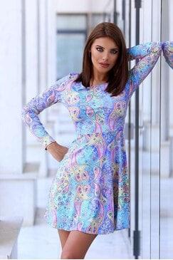 Принтирана дамска рокля с дълги ръкави AVELINE