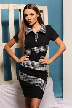 Стилна рокля с яка TEA BLACK