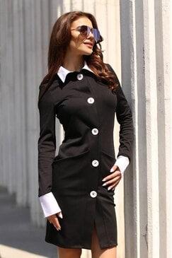 Черна стилна дамска рокля с копчета YANA