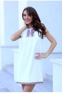 Бяла рокля с бродерия VELIKA