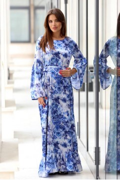 Дълга синя дамска рокля FENIX