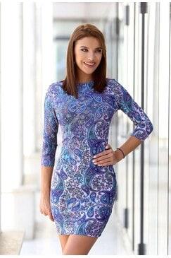 Принтирана дизайнерска рокля с дълъг ръкав MOON
