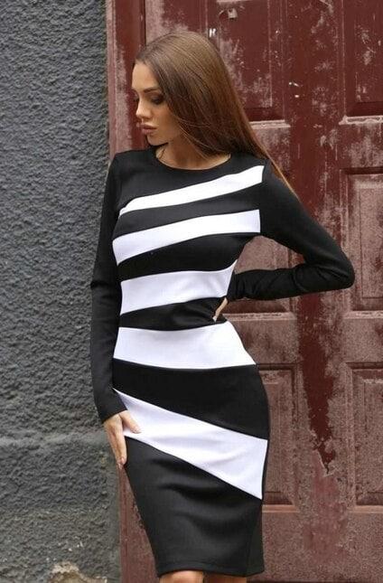 Ефектна рокля в черно и бяло ALESIA