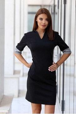 Черна дамска рокля с дълъг ръкав COLETTE