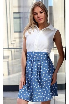Дамска ежедневна рокля FLOWER DENIM