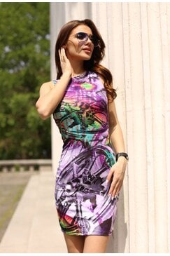 Стилна дизайнерска рокля с принт DELIRIUM VIOLET