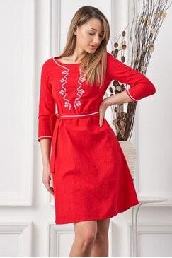 Стилна дамска рокля с шевица RADA RED