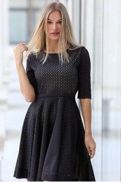 Черна кожена дамска рокля с лазерно изрязване ZIPPY BLACK