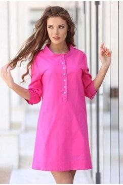 Розова стилна рокля DILMANA