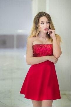Парти дамска червена рокля RED STAR