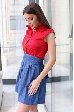Стилна дамска елегантна рокля SCALA RED