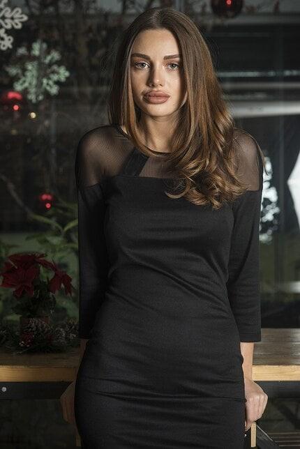 Стилна официална черна рокля Nona
