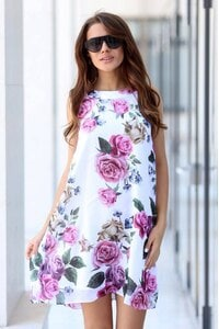 Стилна рокля А силует WHITE ROSE