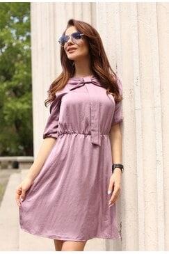 Елегантна лятна дамска рокля с панделка KAYRA VIOLET