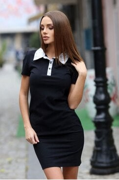 Стилна черна рокля MAXIM