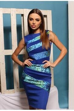 Ефектна синя вталена рокля ANDREA