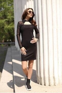Елегантна дамска черна рокля с мрежа MILANA