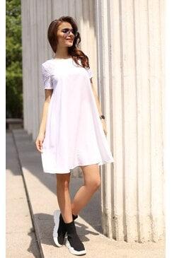 Ежедневна дамска разкроена бяла рокля WHITEWISH