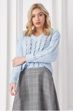 Елегантен дамски пуловер плетка PIPI BLUE