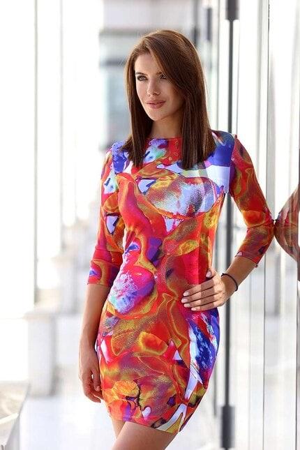 Дамска рокля с дизайнерски принт RED MOON