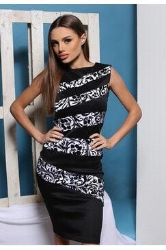 Елегантна черно бяла рокля LAURA