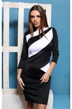 Стилна черно бяла рокля ELICA