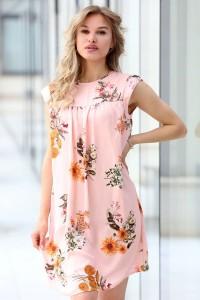 Дамска розова разкроена рокля SAND