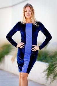 Синя стилна ежедневна рокля BLUE MOOD