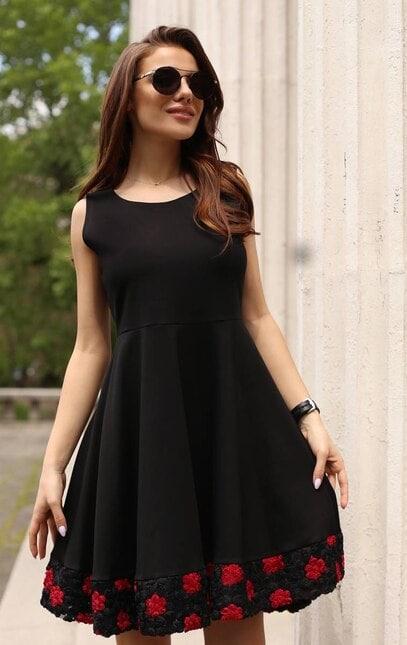 Ежедневна дамска разкроена черна рокля ROZA