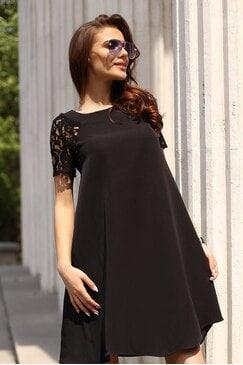Разкроена черна дамска рокля SAPPHIRE