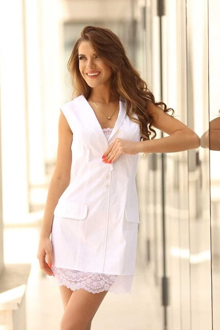 Бяла рокля с дантела FEYA