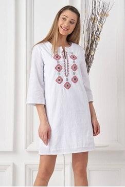 Памучна бяла рокля с шевица STRUMA