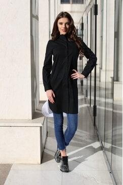 Елегантна черна рокля риза STYLE