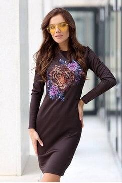 Черна рокля с дизайнерски принт SUZANITA