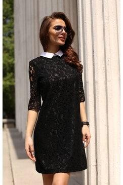 Черна рокля с бяла яка ARTERY LUX