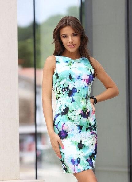 Стилна рокля с принт EFFECT BLUE