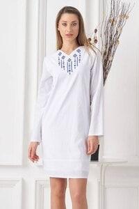 Елегантна бяла рокля с бродерия ARDA