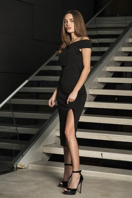 Ефектна черна рокля с голи рамене ANFISA