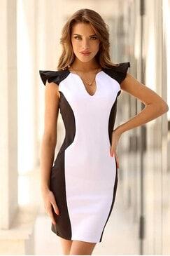 Стилна черно бяла рокля IRINA