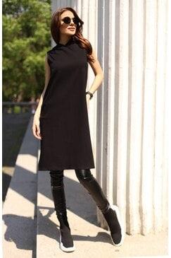 Дълъго черно стилно дамско hoodie без ръкави BLAZE