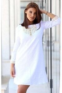 Бяла дамска памучна рокля с бродерия ROJEN