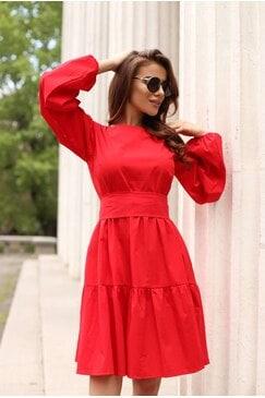 Разкроена червена дамска рокля PLAM