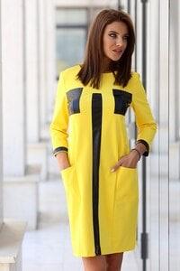 Стилна жълта дамска рокля DENAYA