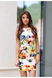 Стилна рокля с принт EFFECT YELLOW