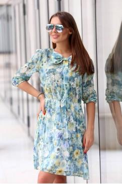 Стилна разкроена ежедневна рокля FLORAL SKY