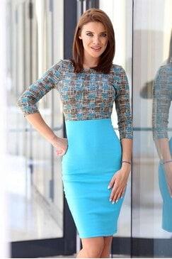 Синя дамска ежедневна рокля ASK FOR MORE