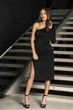 Ефектна асиметрична черна рокля PRESIANA