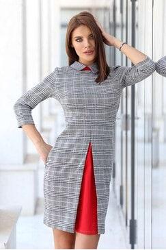 Стилна сива дамска рокля STONE
